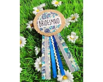 Hen Party Bridesmaid Ribbon Rosette Badge, Blue
