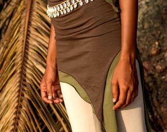 Pixie double Skirt ~ Organic cotton. Gypsy skirt. Nomadic skirt. Festival skirt. Summer skirt. Hippie skirt. Doof. (xs/small/medium/large)