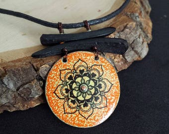 Necklace, mandala, enamel on copper, recycled, hand made, nature, hand painted, orange, chakra, gift, sacred chakra, amulet
