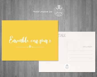 """Yellow postcard """"Together is everything!"""""""