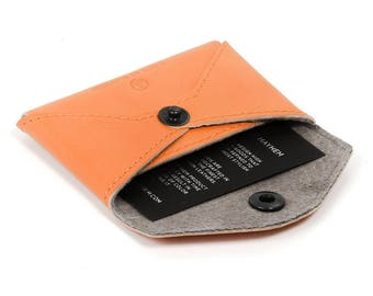 Business card wallet, coin pouch with snap - orange leather card case for coins or cards and cash - Made in Los Angeles
