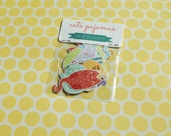 Cat's Pajamas - Set of 20 Cat Stickers - Cat Sticker Pack - Cat Stickers - Handmade Stickers - Hand Drawn Stickers - Cute Cats