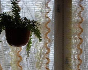 70's light translucent curtains, two pieces