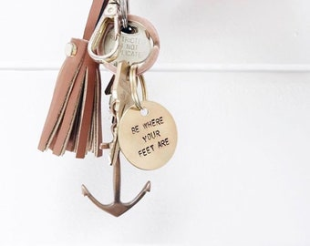 Custom Keychain, Hand-Stamped, Personalized, Brass or Aluminum, Gift for Her, Gift for Him, Housewarming Gift, Father's Day
