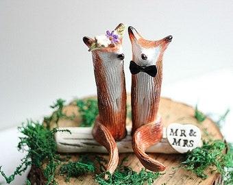 Fox Party Decor, Fox Wedding cake topper, Clay Fox, Woodland Cake Topper, Rustic Wedding Cake Topper, Fox Cake Topper, Made to Order