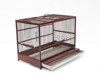 Burgundy Wood & Wire Birdcage