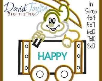 Mine Train Dwarf Happy Embroidery Design 4x4 5x7 6x10 7x10 8x10 9 format-Applique Instant Download-DTDigitizing Snow White and the 7 seven
