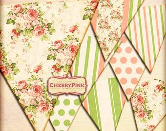 Garden Party bunting - printable decoration - vintage floral - tea party decorations - DIY party ideas - summer party - Instant Download