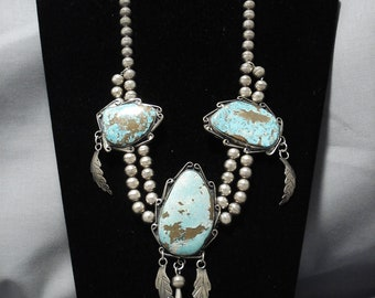Opulent Vintage Native American Navajo Turquoise Chunk Sterling Silver Necklace Old