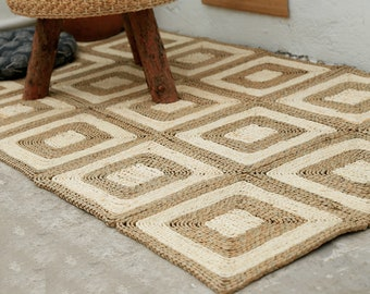 Custom-size beige and brown straw floor mats and rugs /handmade bedroom area mat/ tatami straw carpet/picnic rug/wedding gift