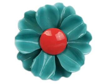 1960s Mod Groovy Light Blue & Coral Pink Enamel on Metal Flower Floral Vintage Mid Century Figural  Pin Brooch