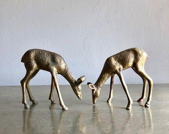 vintage brass deer figurine pair of 2