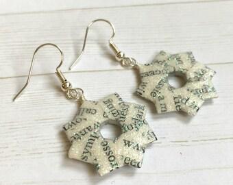 Literary Origami Earrings // Glitter Wreath