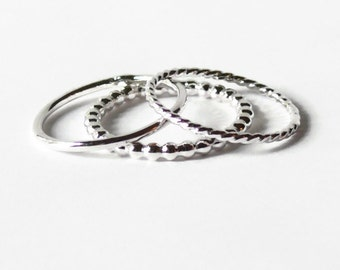Sterling silver stacking rings set of 3 Handmade silver ring spring fashion sterling silver rings - beaded, plain, and twist stackable ring