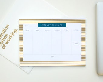 7 day weekly planner pad, a4 weekly planner, desk weekly pad, to do list notepad weekly, weekly planner with notes, weekly planning pad, Mon