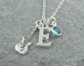 Guitar necklace, silver electric guitar, personalized jewelry, music jewelry, initial necklace, swarovski birthstone, guitar player gift