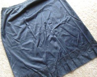 Vintage Black Half Slip, Lace Trim
