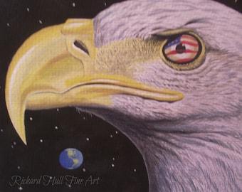 The Eagle Has Landed, 2015, Original Watercolour Painting, Richard Hull Fine Art