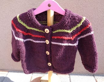 girls 2 years vest knitted wool and acrylic Raglan