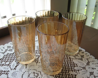 Set of Four (4) Vintage Iridescent Marigold Ribbed Tumblers