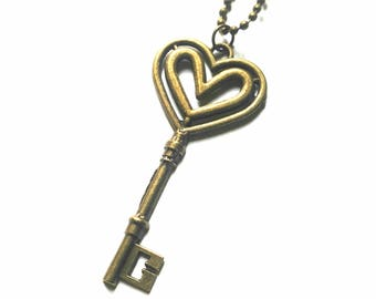 Skeleton key necklace, key necklace, antique key necklace, ball chain, brass necklace, brass key, heart key, old key necklace