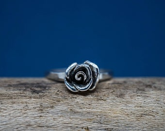 Rose Ring, dainty rose ring, .925 sterling silver