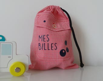Ball bag for storing precious treasure! Red and Navy Blue