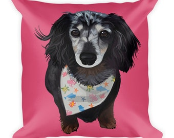 Dachshund Square Pillow, Doxie Throw Pillow, Weiner Dog Pillow, Dachshund Gifts, Dog Lover Gift, Dachshund Decor, Weiner Lovers, Dog Mom