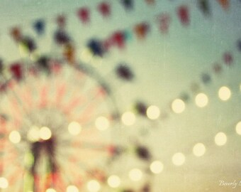 Carnival Dreams, summer, green, lights, bokeh, fine art, photography,