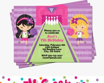 BOWLING INVITATION - GIRL Bowling Party Invite - Bowling Birthday Party - Bowling Party Printables