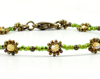 Beaded Anklet - Seed Bead Foot Jewelry - Daisy Chain Ankle Bracelet - Beach Anklet - Summer Jewelry - Green and Bronze Vacation Jewelry