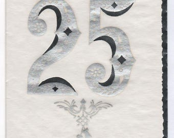 Vintage 25th Anniversary card, silver, with envelope