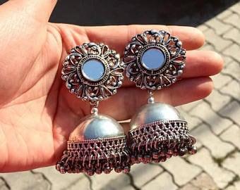 german silver mirror earring/jhumka