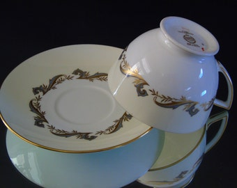One 1 Three Piece Bone China Set Consisting of Flat Tea