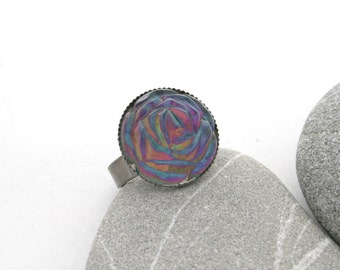 Rainbow Rose Ring - Hand Painted Color Shifting Ring - Vintage Rose Cocktail Ring - Nail Polish Jewelry Style