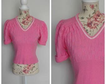 vintage 1940's pink and white knitted sweater