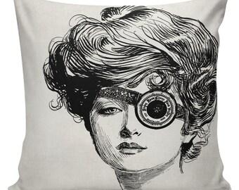 Hipster Pillow Cover cotton canvas throw pillow 18 inch square Steampunk Girl Tasha #UE0008 Urban Elliott