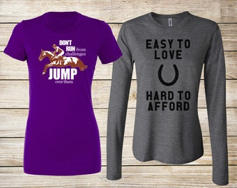 SALE! Equestrian T-Shirt Bundle: Jump Over Challenges Fitted T-Shirt & Easy to Love Hard to Afford Heather Gray Long Sleeve - Size Small