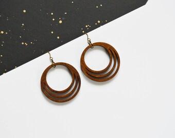 Circle Earrings, Wood Dangle Earrings, Circle Drop Earrings -Dangle Round Earrings -Geometric Jewelry-5th anniversary gift-Everyday earrings