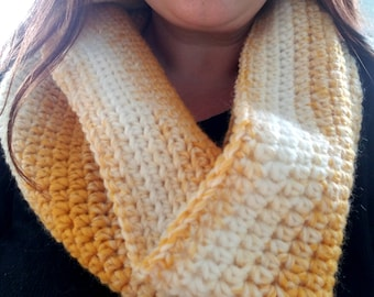 Crochet mustard and cream infinity scarf/hooded cowl.