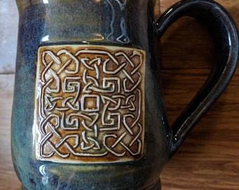 Celtic knot mug, 16 ounce mug, handmade ceramic mug for coffee or tea #368