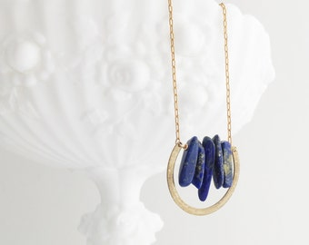 Lapis Lazuli Arc Necklace with Vintage Gold Toned Chain, Short Length Lightweight Necklace, Denim Blue and Gold Simple Minimalist Necklace