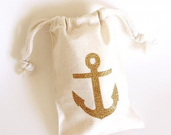 Nautical Theme Bachelorette party - Glitter anchor - Bachelorette party - Favor bag