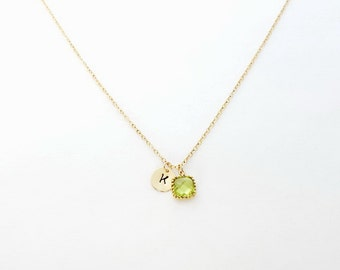 Peridot Necklace, August Birthstone Initial Necklace, August Birthstone, Personalized Necklace, Bridesmaid Gift, Initial Necklace,