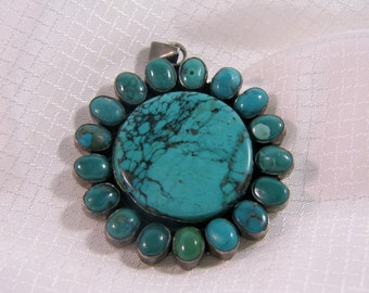 c1970's Blue Turquoise Sun Pendant, Southwest, Mohave, Turquoise Mountain
