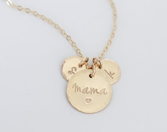 Mother necklace with initials / Mothers day Gift New Mom / Personalized Mother Necklace / Mama Necklace 14K gold Filled, Rose Gold, Silver