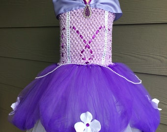 Disney Princess SOFIA THE FIRST inspired dress 0m-5T holidays fancy Tulle purple dress costume. Birthday outfit / costume. Purple