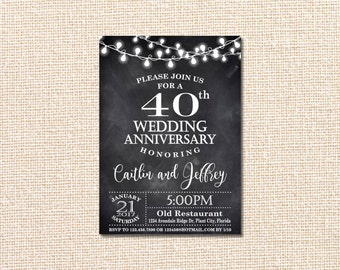 Amazing Wedding Anniversary Invitation, 40th Anniversary Invitation, 40th Wedding  Anniversary Invitation, 40th Wedding Anniversary,chalkboard
