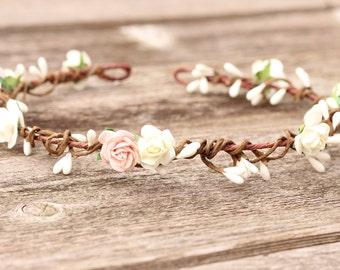 Blush Floral Crown, Wedding Hair Crown, Ivory Flower Crown, Blush Hair Piece, Bridal Head Piece, Flower Girl Crown, Wedding Hair Piece