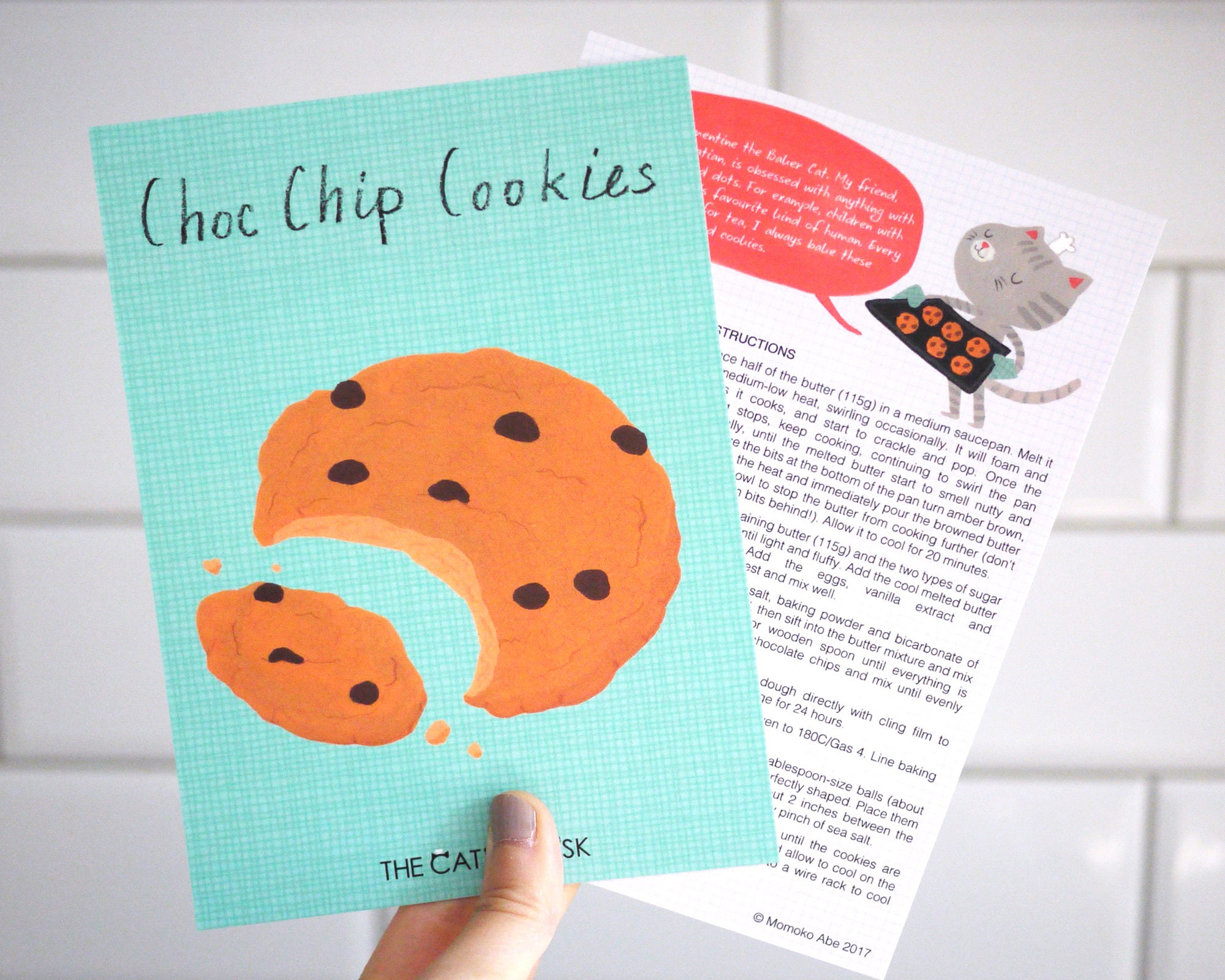 Chocolate Chip Cookies 5x7 Recipe Card feat. Clementine The